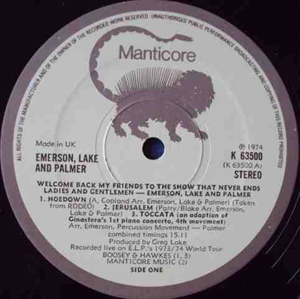 EMERSON, LAKE & PALMER - Welcome Back My Friends To The Show - 12 inch x 3