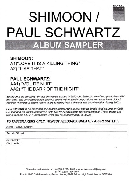 SHIMOON / PAUL SCHWARTZ - ALBUM SAMPLER