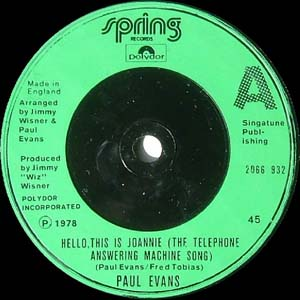 Paul Evans - Hello, This Is Joannie (Answering Machine Song)