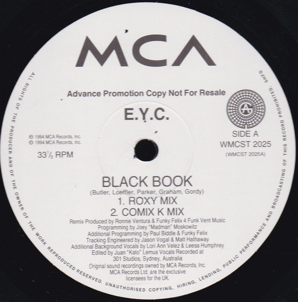 E.Y.C. - Black Book/One More Chance (Mixes)