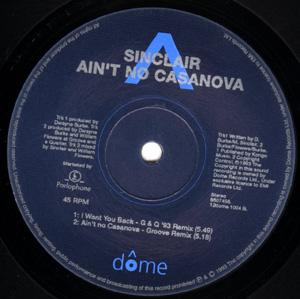 SINCLAIR - Ain't No Casanova - 12 inch x 1