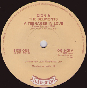 Dion & The Belmonts - A Teenager In Love / Where Or When