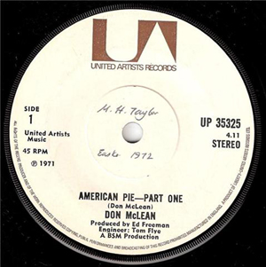 DON MCLEAN - American Pie - 7inch x 1