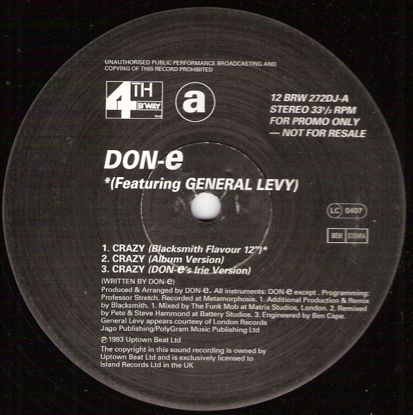 DON-E - Crazy - 12 inch x 1