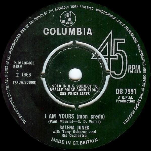 Salena Jones With Tony Osborne -  I Am Yours (Mon Credo) / I Only Know I Love You