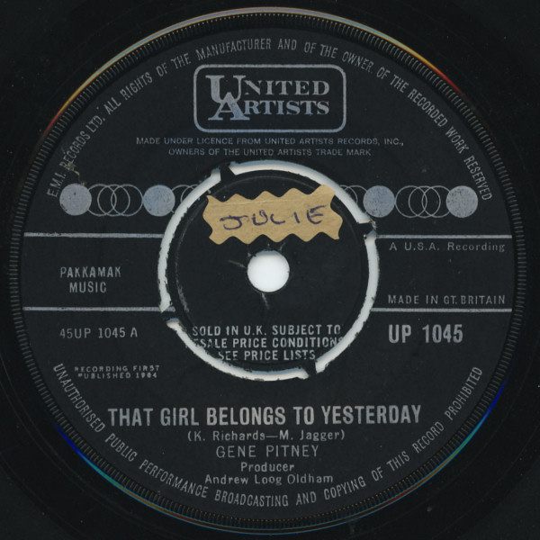 Gene Pitney - That Girl Belongs To Yesterday