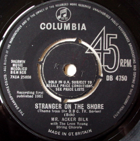 MR. ACKER BILK WITH LEON YOUNG STRING CHORALE - Stranger On The Shore - 7inch x 1