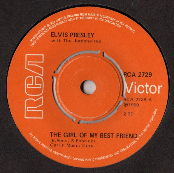Elvis Presley With Jordanaires, The - The Girl Of My Best Friend