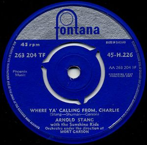 ARNOLD STANG WITH SUNSHINE KIDS ORCHESTRA - Where Ya' Calling From Charlie - 45T x 1