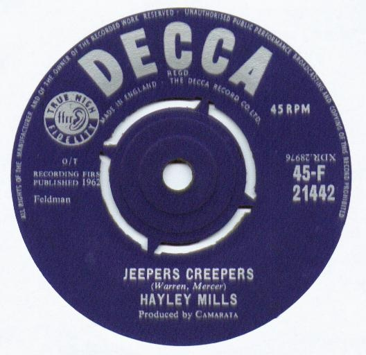 Hayley Mills - Jeepers Creepers / Johnny Jingo