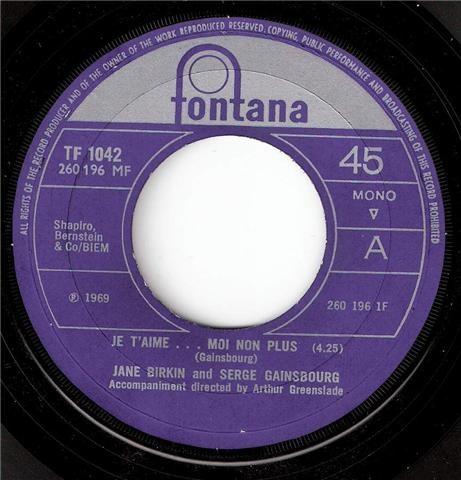 JANE BIRKIN AND SERGE GAINSBOURG - Je T'aime...Moi Non Plus / Jane B - 45T x 1