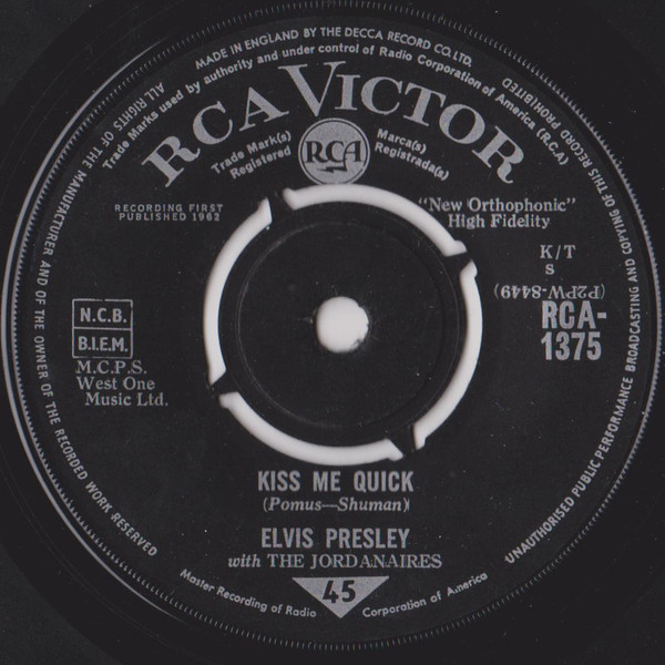 Elvis Presley With The Jordanaires - Kiss Me Quick