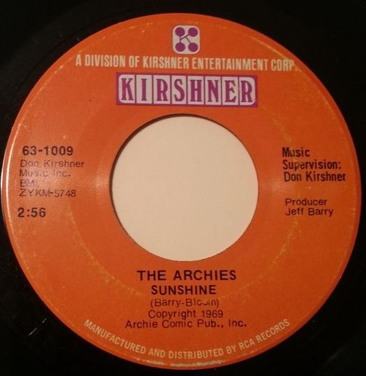 The Archies - Sunshine / Over And Over