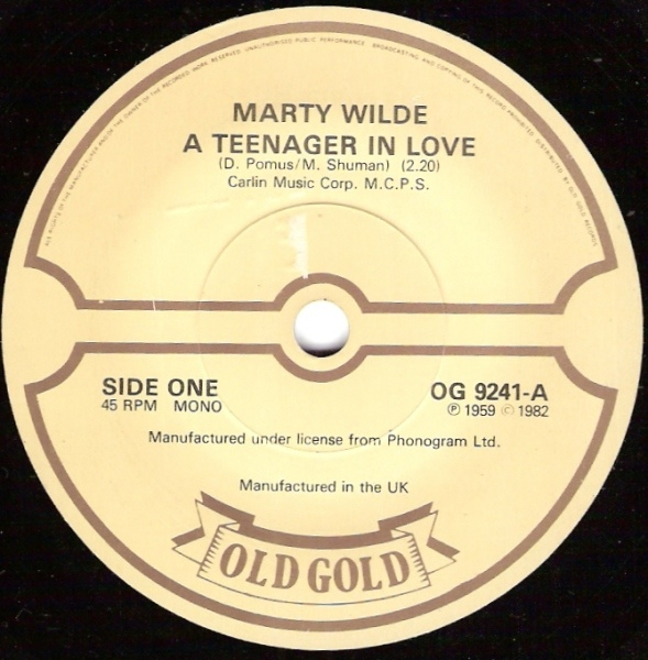 Marty Wilde - A Teenager In Love