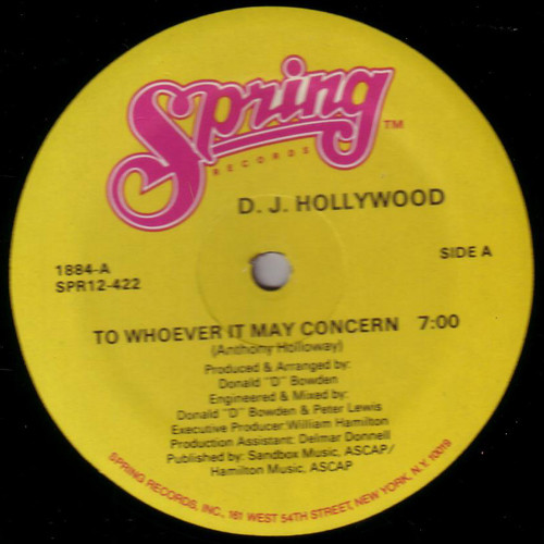 D. J. Hollywood - To Whoever It May Concern