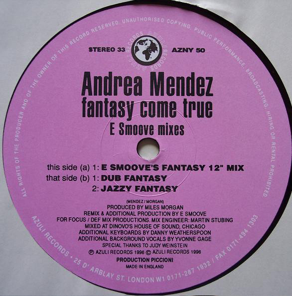 Andrea Mendez - Fantasy Come True (E Smoove Remixes)