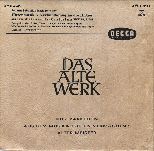 Johann Sebastian Bach ; Gert Lutze, Chlo? Owen - Hirtenmusik - Verk?ndung An Die Hirten Aus Dem