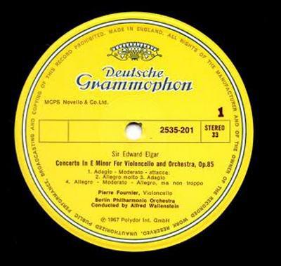 Pierre Fournier, Berlin Phil.Alfred Wallenstein - Concerto E Minor Violoncello & Orchestra, Op. 85