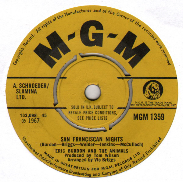 ERIC BURDON AND THE ANIMALS - San Franciscan Nights - 45T x 1