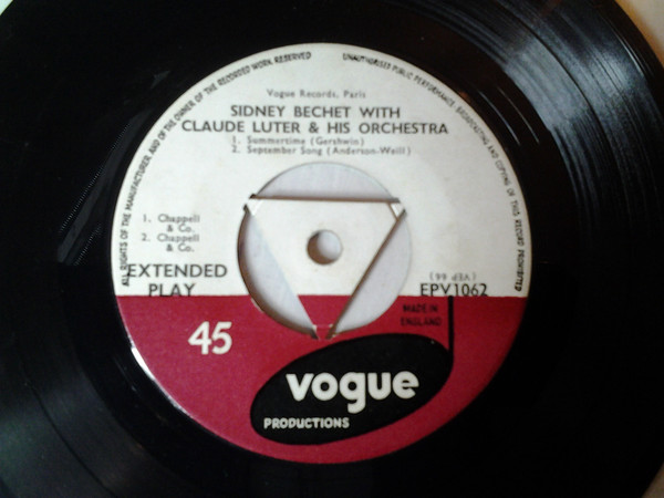 SIDNEY BECHET, CLAUDE LUTER & HIS ORCHESTRA - Summertime - 45T x 1