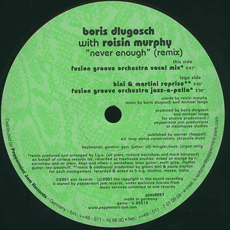 BORIS DLUGOSCH feat ROISIN MURPHY - NEVER ENOUGH (REMIXES)